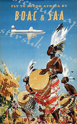Vintage BOAC Flights to South Africa Poster A3/A4 Print