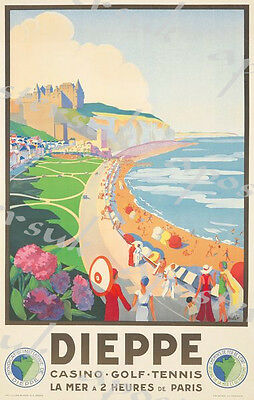 Vintage French Railways Dieppe Tourism Poster A3/A4 Print