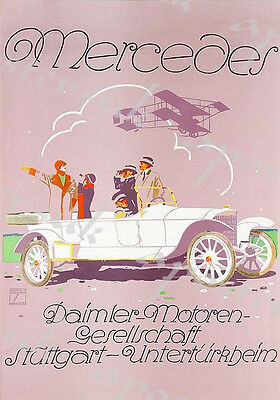 Early 20th Century German Mercedes Benz Advertisement Poster A3/A4 Print