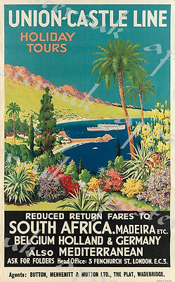 Vintage Union Castle Line Cruises to South Africa Poster A3/A4 Print