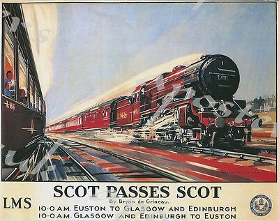 TX106 Vintage Coronation Scot LMS Railway Framed Travel Poster Re-Print A3//A4