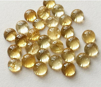 20 Pcs Citrine Cabochons Lot, Round Plain Calibrated Citrine, Loose Cabochons