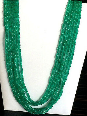 "16""-20"", 5 Strands Emerald Beads, Emerald Beryl Rondelle Beads, Emerald Necklace"