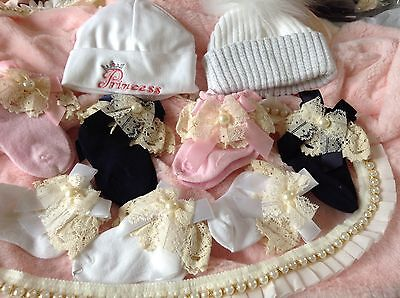Baby girls newborn Spanish vintage lace socks with bow and pearls  hand made