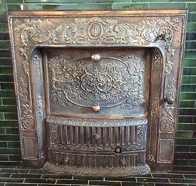 Antique Copper Fireplace Grate and Surround