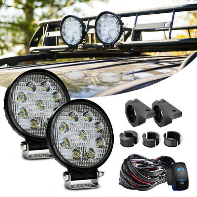 2x 27W LED Work Light Bar Spot Driving Light For OFFROAD FOG 4WD BOAT UTE Round