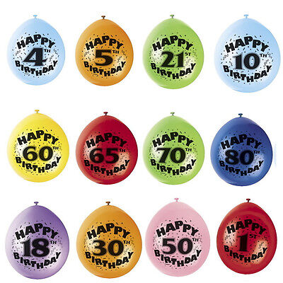 10* Happy Birthday Balloons Latex Number & Wording Printed Age1-80th Party Decor