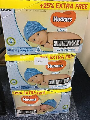 Huggies Pure Baby Wipes Mega Box Disposable 72 Wipes per pack 25% FREE 72 X 10