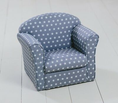 Children's Armchair Grey with White Stars Girl Boy Seating Chair Bedroom Playroo