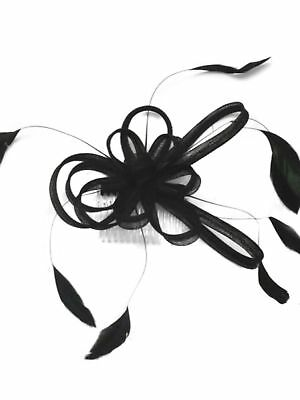 Coiled Loop and Feather Comb Fascinator Wedding Races Bridal - Hair Accessories