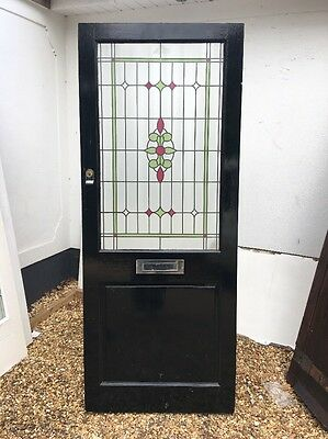 Victorian Style Stained Glass Front Door Reclaimed Old Period Antique Wood.