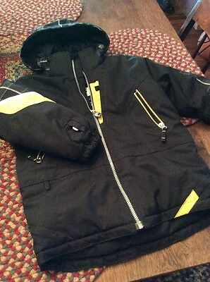 Obermeyer Kids Boys Blue Black Yellow Full Zip Winter Ski Jacket Size 5