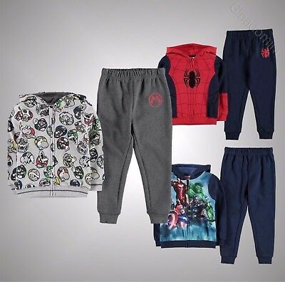 New Kids Boys Character Print 2 Pieces Tracksuit Zip Hoody Bottoms Size Age 2-12