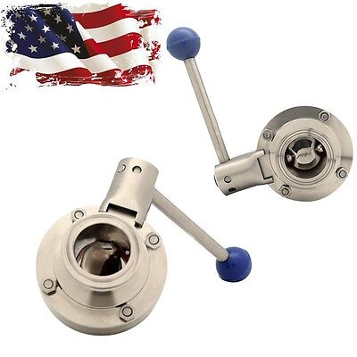 "1.5"" Tri-Clamp Sanitary Stainless Steel 304 Butterfly Valve CNC Machining USA"