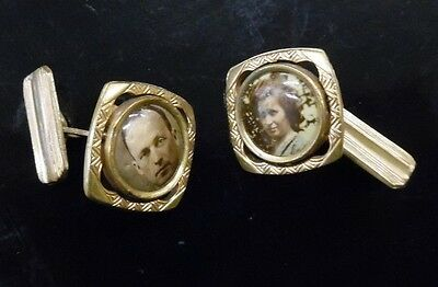 ANTQ VIctorian Celliloid Photo Gold Wash Brass Mourning Cufflinks