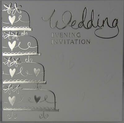 60 Wedding Evening Reception Invitations Silver Embossed Cake With Envelopes