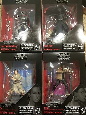 "Star Wars The Last Jedi Black Series 3.75 "" Titanium Kylo Rey Finn Set In Hand"