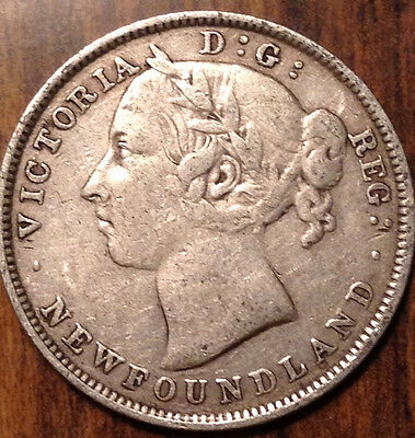 1896 Nfld Newfoundland Silver 20 Twenty Cents In Good Condition !