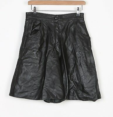 Leather Shorts Small UK 10 Black High Waisted (81F)