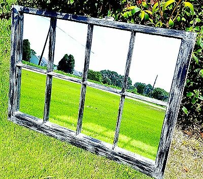 VINTAGE SASH ANTIQUE WOOD WINDOW FRAME PINTEREST 36x28 BLACK GRAY MIRRORS RUSTIC