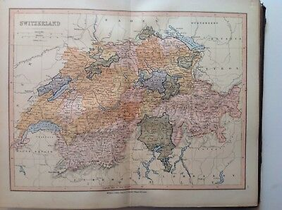 Switzerland, Antique Map c1880, William Collins, Atlas