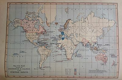 Colonies And European Nations, Antique Map c1880, William Collins, Atlas