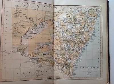 New South Wales, Antique Map c1880, William Collins, Atlas