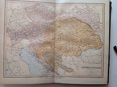 Austria, Hungary, Antique Map c1880, William Collins, Atlas