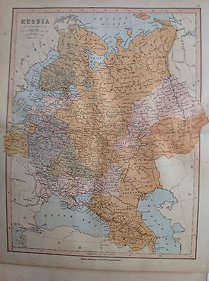 Russia, Antique Map c1880, William Collins, Atlas