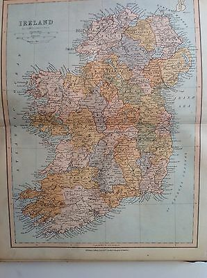 France, Antique Map c1880, William Collins, Atlas