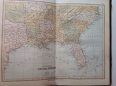 Southern United States, Antique Map c1880, William Collins, Atlas