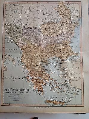 Turkey, Antique Map c1880, William Collins, Atlas