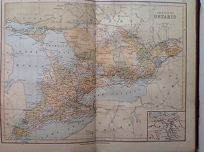 Ontario, Antique Map c1880, William Collins, Atlas