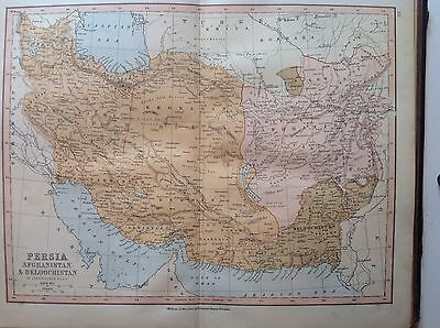 Persia, Afghanistan, Antique Map c1880, William Collins, Atlas