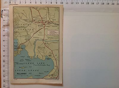 Killarney, 1949, Vintage County Map, Ireland, Bartholomew, Original, Atlas