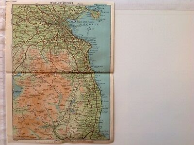 Wicklow District, 1949,Vintage County Map,Ireland,Bartholomew,Original, Atlas