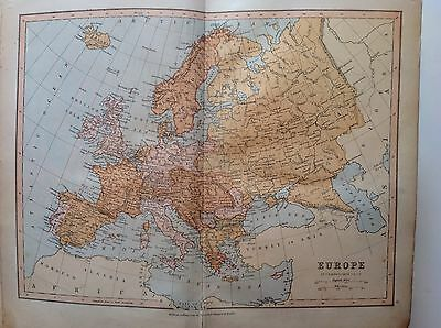 Europe, Antique Map c1880, William Collins, Atlas