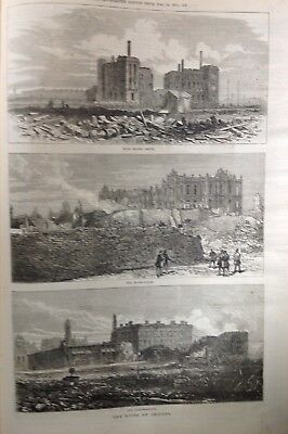 The Ruins Of Chicago, Antique Print 1871, Original