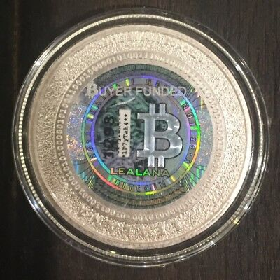 """LEALANA Physical Bitcoin 2013 Silver .50 GOLD/Black   """"Unfunded"""" like CASASCIUS"""