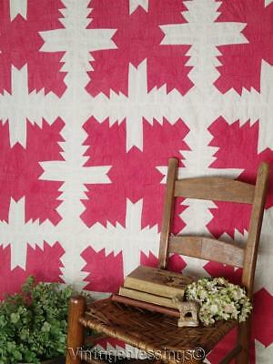 Graphic ANTIQUE c1880 RED & White QUILT Great Display