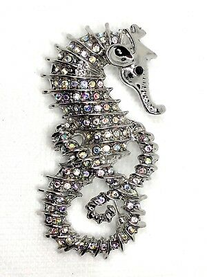 "Seahorse Brooch pin rhinestones 2 1/2""x1 1/2""scuba diving snorkeling surf GIFT#1"