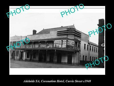 OLD LARGE HISTORICAL PHOTO OF ADELAIDE SA, CORONATION HOTEL,CURRIE St 1940