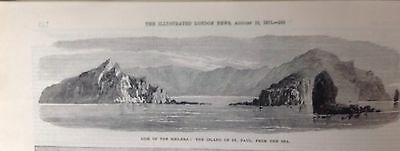 Island Of St Paul Antique Print 1871, Original