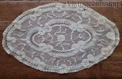 """Antique Delicate Princess Lace Oval Doily 13"""" x 7 3/4"""" French Net"""