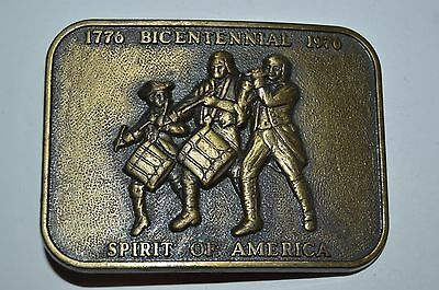 Vintage 1976 USA United States Spirit of America Bicentennial Band Belt Buckle