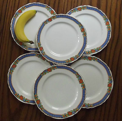 Alfred Meakin side plates Set of 6 GENOA Harmony 1920s 1930s Art Deco tableware