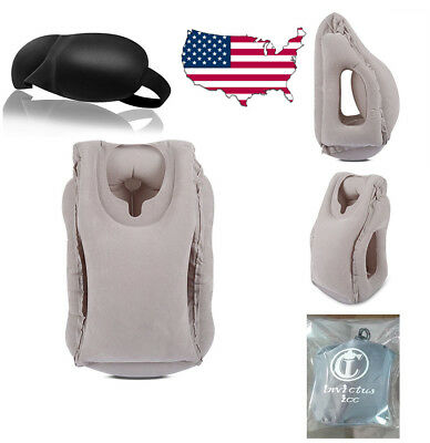 Inflatable Air Travel Pillow Airplane Neck Head Chin Cushion Office Nap&Goggles