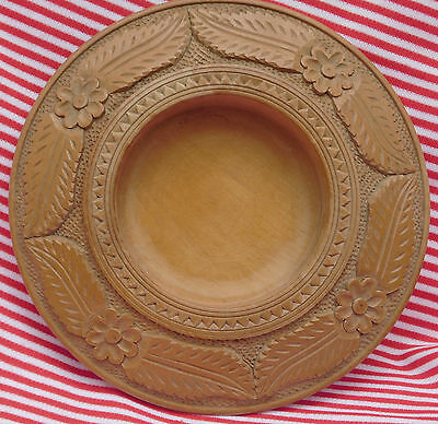 Carved wooden bowl Vintage Flower and leaf decoration 8 inches solid wood