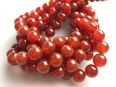 Large Hole 2.0mm Natural Red Agate/Carnelian Semi-Precious Round Gemstone Beads