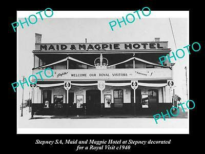 OLD LARGE HISTORICAL PHOTO OF THE MAID & MAGPIE HOTEL, STEPNEY SA, c1940